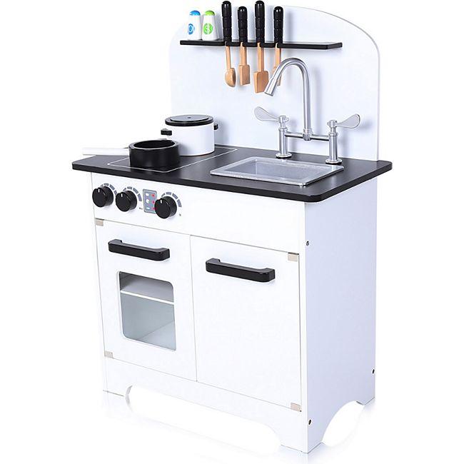 Baby Vivo Kinderküche Spielküche aus Holz mit Zubehör - Jamie in Weiß - Bild 1