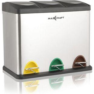 MAXCRAFT Mülleimer / Treteimer mit 3 Behältern - 24 Liter (3 x 8 Liter) - Bild 1