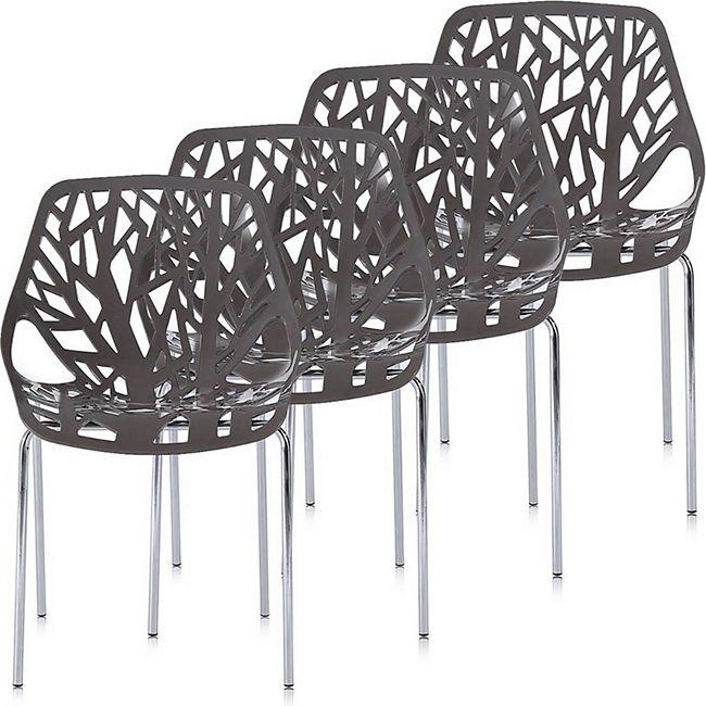 Makika Retro Stuhl Design-Stuhl - CALUNA 4er Set in Grau - Bild 1