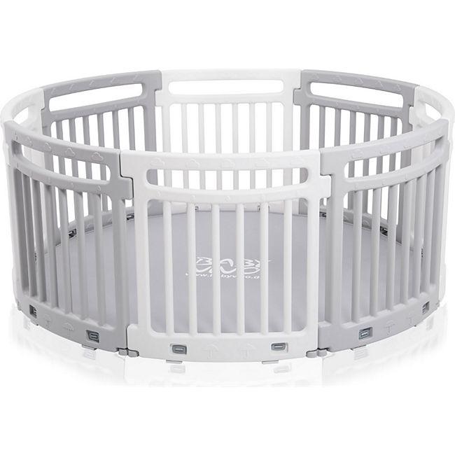 Baby Vivo Rundes Laufgitter aus Kunststoff 8 Elemente Grau / Weiß - Lucy - Bild 1