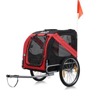 zoomundo Hundeanhänger Fahrradanhänger für Hunde - in Rot/Schwarz - Silver Frame - Bild 1