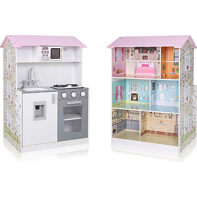 Baby Vivo Kinderküche und Puppenhaus 2in1 Mira aus Holz - Bild 1