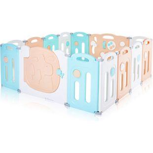 Baby Vivo Laufgitter aus Kunststoff 14 Elemente - Kory in Orange, Weiß und Türkis - Bild 1