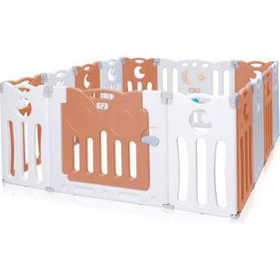 Baby Vivo Laufgitter aus Kunststoff Faltbar 14 Elemente - Athena in Braun/Weiß - Bild 1