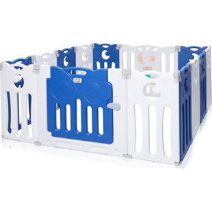 Baby Vivo Laufgitter aus Kunststoff Faltbar 14 Elemente - Athena in Blau/Weiß - Bild 1