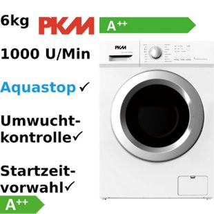 PKM WA6-1008E Waschmaschine A++ Weiß 1000 U/min 6Kg Aquastop - Bild 1