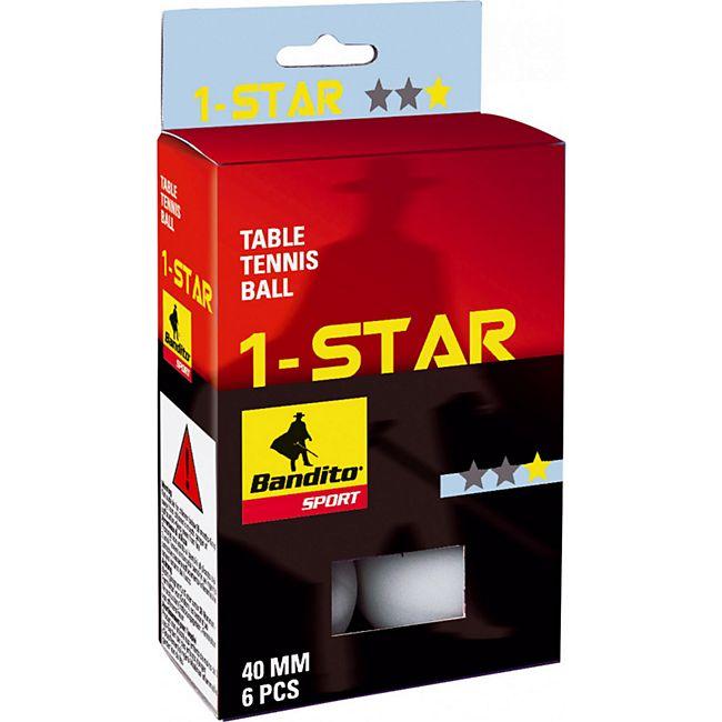 Bandito Tischtennisbälle 1-Star - 6 Stück - weiß - Bild 1