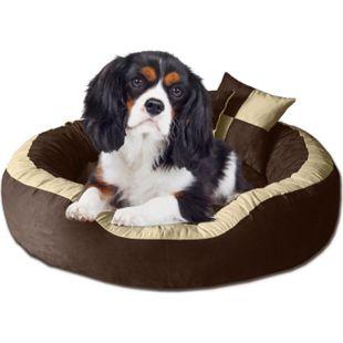 BedDog® Hundebett PRINS, großes Hundekörbchen,waschbar, Hundekissen... XL (ca. 95x80cm), SAND-DUO (braun/beige) - Bild 1