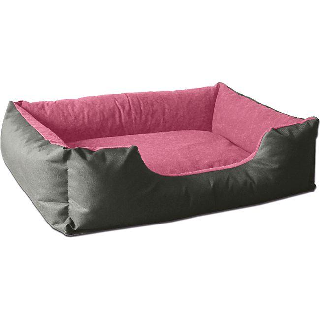 BedDog® Hundebett LUPI, Hundesofa Hundekissen waschbar... XL (ca. 100x85cm), PINK-ROCK (grau/rosa) - Bild 1