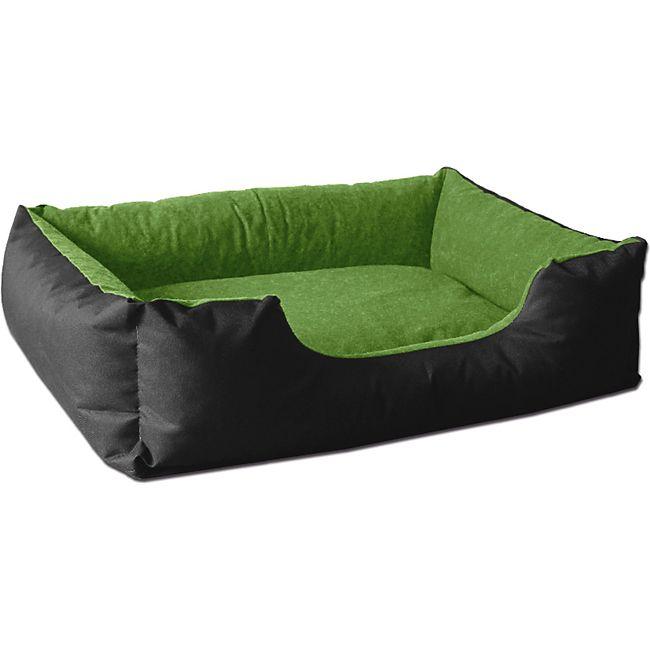BedDog® Hundebett LUPI, Hundesofa Hundekissen waschbar... S (ca. 55x40cm), GREEN-FIELD (schwarz/grün) - Bild 1