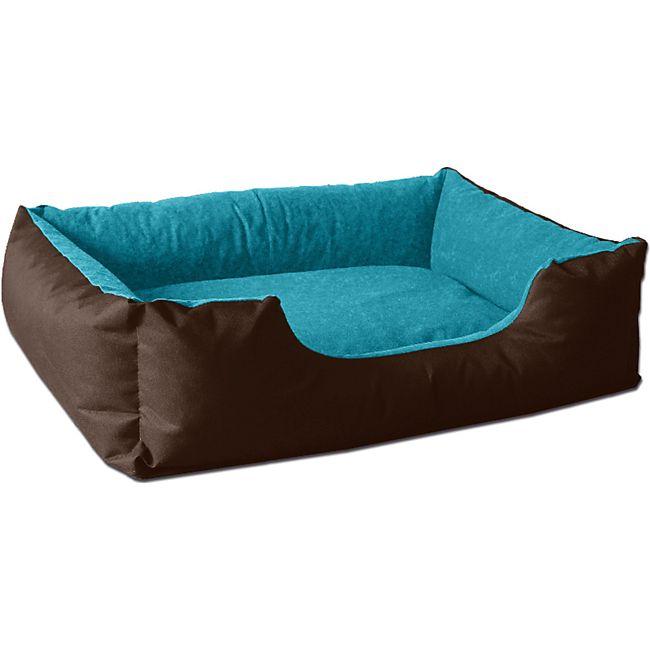 BedDog® Hundebett LUPI, Hundesofa Hundekissen waschbar... S (ca. 55x40cm), MOUNTAIN-BLUE (braun/blau) - Bild 1