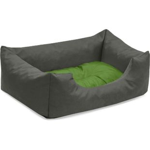 BedDog® Hundebett MIMI, Hundesofa aus Cordura, Microfaser-Velours,Hundekissen... S (ca. 55x40cm), GREEN-ROCK (grau/grün) - Bild 1
