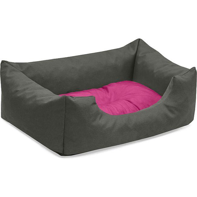 BedDog® Hundebett MIMI, Hundesofa aus Cordura, Microfaser-Velours,Hundekissen... S (ca. 55x40cm), PASSION-ROCK (grau/pink) - Bild 1