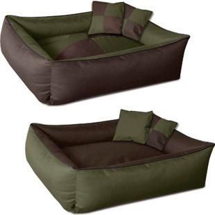 BedDog® 2in1 Hundebett MAX QUATTRO, waschbar, Hundekissen mit Rand, Hundesofa für drinnen, draußen... M (ca. 70x55cm), MYSTIC (grün/braun) - Bild 1