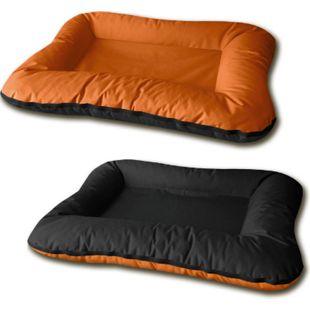 BedDog® 2in1 Hundebett VERA, waschbares Hundebett mit Rand, Hundesofa... L (ca. 80x60x11cm), SUNSET (orange/schwarz) - Bild 1