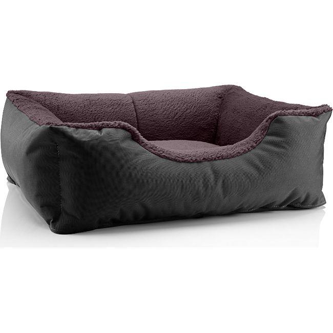 BedDog® Hundebett TEDDY, Hundesofa, waschbares Hundebett mit Rand, Hundekissen... S (ca. 55x40cm), BLACK-FIELD (schwarz/braun) - Bild 1