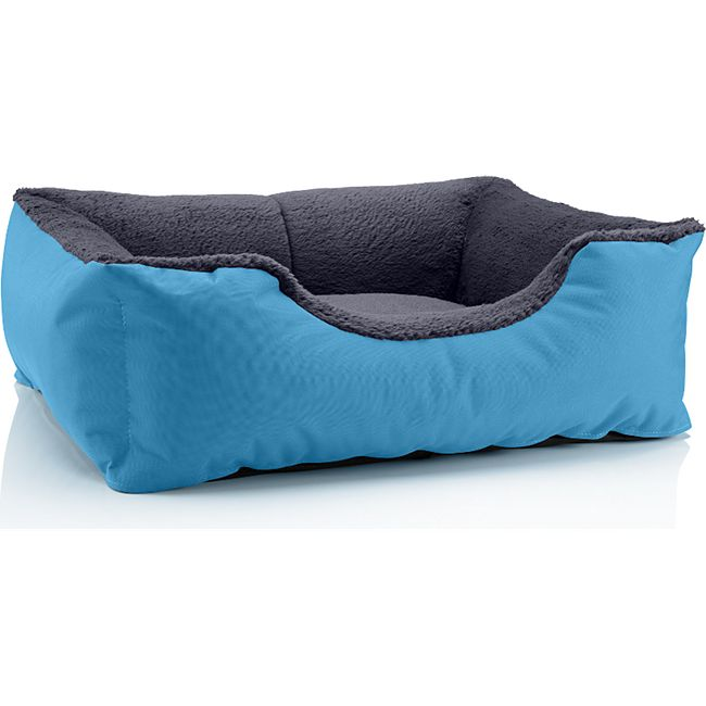 BedDog® Hundebett TEDDY, Hundesofa, waschbares Hundebett mit Rand, Hundekissen... S (ca. 55x40cm), BLUE-ROCK (grau/blau) - Bild 1