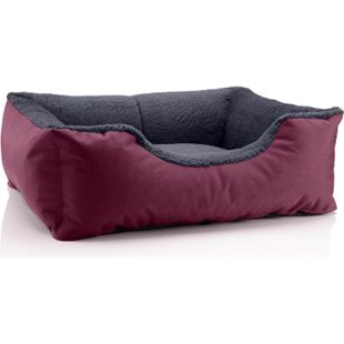 BedDog® Hundebett TEDDY, Hundesofa, waschbares Hundebett mit Rand, Hundekissen... S (ca. 55x40cm), CHERRY-ROCK (bordeaux/grau) - Bild 1