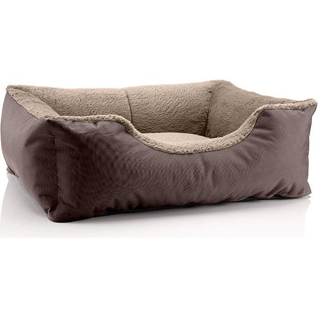 BedDog® Hundebett TEDDY, Hundesofa, waschbares Hundebett mit Rand, Hundekissen... S (ca. 55x40cm), MELANGE (braun/beige) - Bild 1