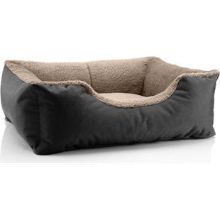BedDog® Hundebett TEDDY, Hundesofa, waschbares Hundebett mit Rand, Hundekissen... S (ca. 55x40cm), NAMIB-BLACK (schwarz/beige) - Bild 1