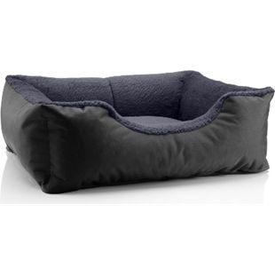 BedDog® Hundebett TEDDY, Hundesofa, waschbares Hundebett mit Rand, Hundekissen... S (ca. 55x40cm), THE-ROCK (schwarz/grau) - Bild 1