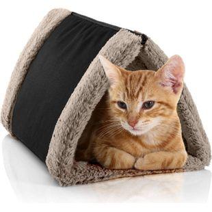 BedDog® Katzentunnel 3in1 LUNA, Katzenhöhle, Katzenmatte zweiseitig, Unterlage... NAMIB-BLACK (schwarz/beige) - Bild 1