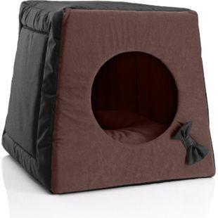 BedDog® Katzenhöhle 3in1 MIA, Katzenbox, Katzenhütte, kuscheliger Katzenkorb... BLACK-FIELD (schwarz/braun) - Bild 1