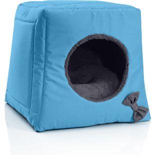 BedDog® Katzenhöhle 3in1 CALA, Katzenbox, Katzenhütte, kuscheliger Katzenkorb... BLUE-ROCK (grau/blau) - Bild 1