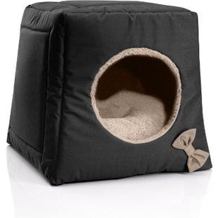 BedDog® Katzenhöhle 3in1 CALA, Katzenbox, Katzenhütte, kuscheliger Katzenkorb... NAMIB-BLACK (schwarz/beige) - Bild 1