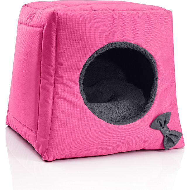 BedDog® Katzenhöhle 3in1 CALA, Katzenbox, Katzenhütte, kuscheliger Katzenkorb... PINK-ROCK (pink/grau) - Bild 1