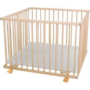 WALDIN Baby Laufgitter Laufstall ca. 100x100 BUCHE MASSIV, höhen-verstellbar, 2 Modelle... Ohne-Nestchen, Natur/unbehandelt - Bild 1