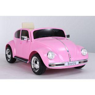 Kinder Auto VW Beetle 12V 2x35W Volkswagen Kinderfahrzeug Elektrofahrzeug Pink - Bild 1