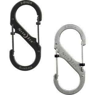 NITE IZE SlideLock S-Biner Mini Doppel Karabiner Schlüsselanhänger Schnapp Haken Farbe: schwarz, Größe: Größe 2 - Bild 1
