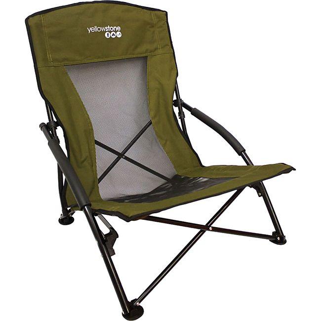 YELLOWSTONE Strand Liege Stuhl - Camping Klapp Falt Sessel Niedrig Garten 100 kg - Bild 1