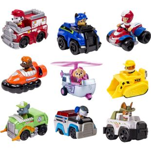 PAW PATROL 3er Set Rescue Racers - Kinder Spielfigur Fahrzeug Actionfigur Auto Variante: Rubble, Marshall, Rocky - Bild 1