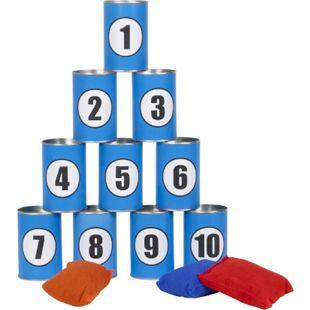 Dosenwerfen Spiel 10 Dosen Werfen Kindergeburtstag Partyspiel Trinkspiel 3 Säcke - Bild 1