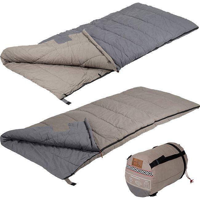 BO-CAMP Deckenschlafsack Bronx 100% Perkal Baumwolle Schlafsack Lang XL bis -10 Farbe: Grau - Bild 1