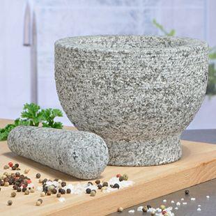 XXL Granitmörser Küchen Mörser Stößel Gewürzmörser Gewürzmühle Granit Stein Ø 15 - Bild 1