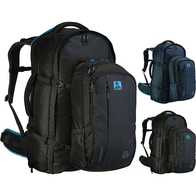 VANGO Freedom II 60+20 Liter Outdoor Reise Rucksack mit Daypack höhenverstellbar Farbe: Dunkelgrau/Grün - Bild 1