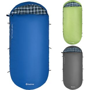KINGCAMP Decken Schlafsack Freespace 250 Camping Lang & Breit Baumwolle Flanell Farbe: Blau Left Zip - Bild 1