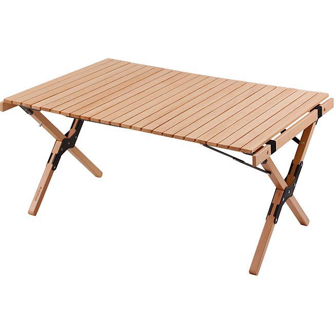 HUMAN COMFORT Camping Roll Tisch Garten Klapptisch Falt Lamellen Groß Holz 90x60 - Bild 1