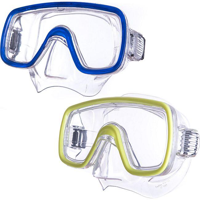 SALVAS Kinder Tauchmaske Domino Schnorchel Taucher Schwimm Brille Maske Mit Nase Farbe: blau - Bild 1