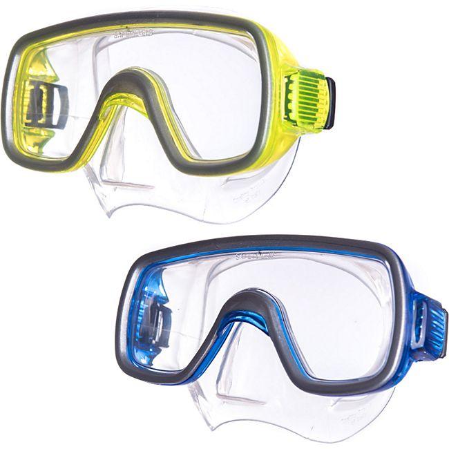 SALVAS Kinder Tauch Maske Geo Schnorchel Taucher Schwimm Brille Mit Nase Silikon Farbe: blau - Bild 1