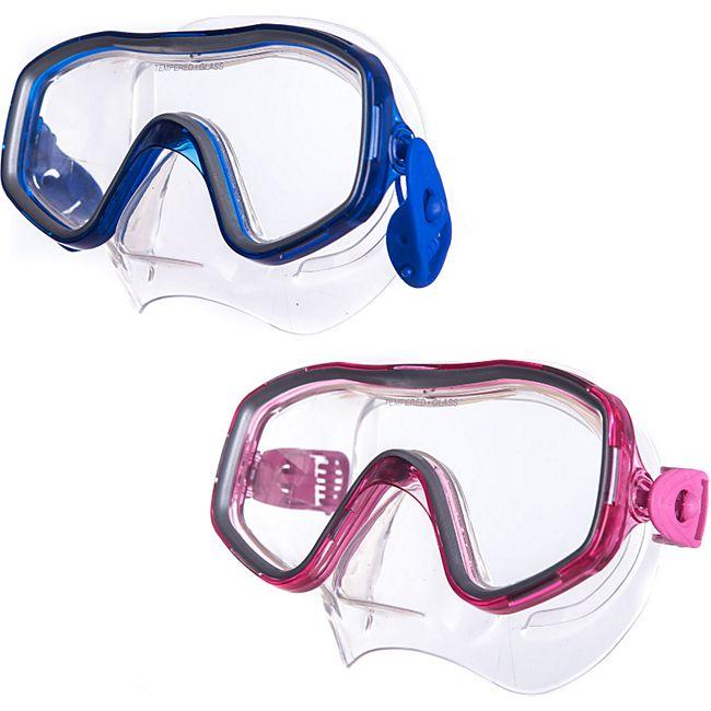 SALVAS Kinder Tauch Maske Smile Schnorchel Taucher Anti Schwimm Brille Silikon Farbe: blau - Bild 1