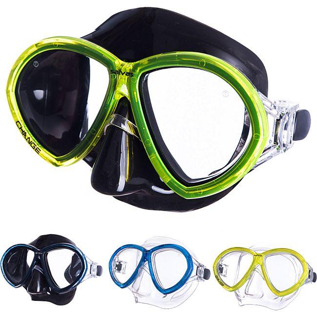 SALVAS Tauch Maske Change Sr Schnorchel Schwimm Brille Anti Beschlag Erwachsene Farbe: blau - Bild 1