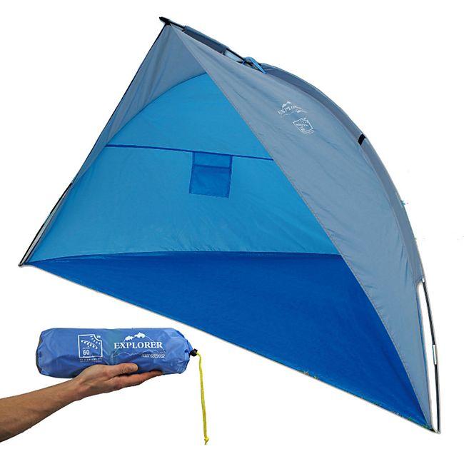 EXPLORER Strandmuschel 2 Personen Wind Schutz Strandzelt UV 80 leicht & kompakt - Bild 1