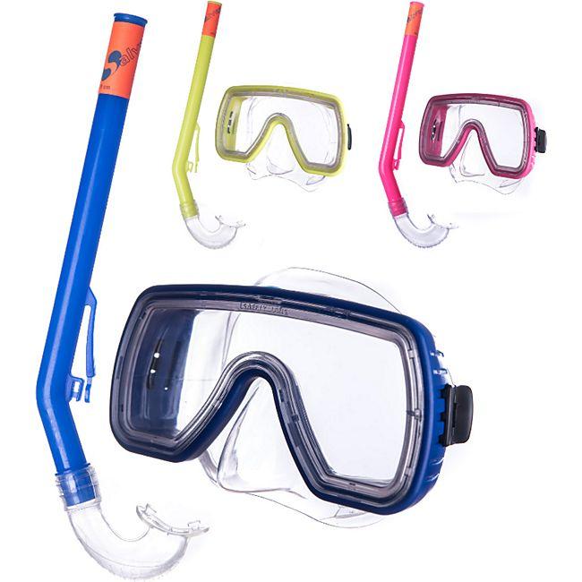 SALVAS Kinder Set Caribe Tauchmaske + Schnorchel Taucher Maske Schwimm Brille Farbe: blau - Bild 1