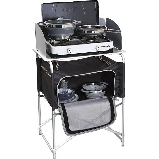 BRUNNER Camping Reise Küche Snack Basic Küchen Tisch Box Falt Schrank Windschutz - Bild 1