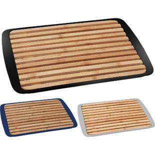 BRUNNER 2-in-1 Schneidebrett & Servier Tablett Platte Küchen Brett Holz 24x36cm Farbe: schwarz - Bild 1