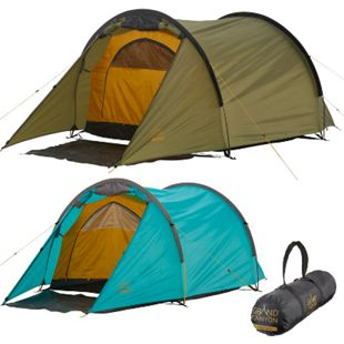 GRAND CANYON Tunelzelt Robson 2 Personen Zelt Familien Camping Leicht Vorraum Farbe: Blue Grass - Bild 1